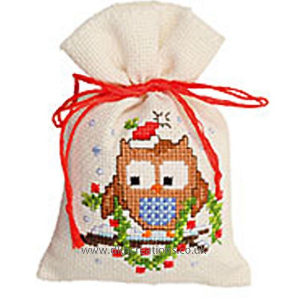 Owlet With A Garland Pot Pourri Bag Cross Stitch Kit
